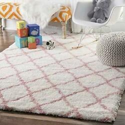 Nuloom Contemporary Trellis Geometric Kids Plush Shag Area Rug In Pink And White
