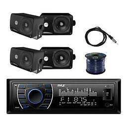Pyle Stereo W/pyle 200w Box Speakers Enrock Antenna And Marine Speaker Wire