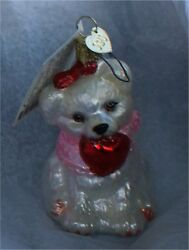 3 designer pink santa  2 puppy  3 to 4 inches ornaments  old world christmas