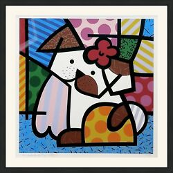Romero Britto Valley Dog 1995 | Signed Print | Framed | Miami | Make An Offer