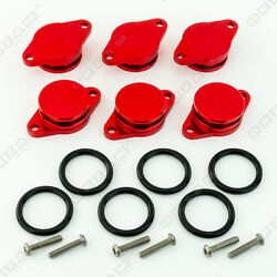 6x 32mm RED ALUMINIUM SWIRL FLAP REPLACEMENT + O-RING FOR BMW 5 SERIES NEW