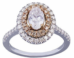 14k White Rose Gold Oval Cut Diamond Pink Saphire Engagement Ring Halo 1.10cts