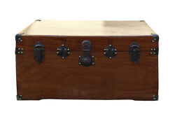 Oriental Chinese Brown Wood Iron Hardware Trunk Table Cs2772