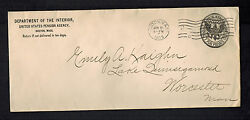 1909 Washington Dc Department Interior Official Cover To Worchester Usa Pension