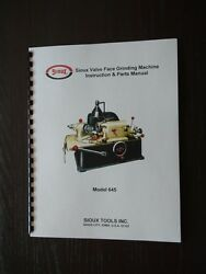Sioux 645 And 645l Valve Grinder - Refacer Instruction And Parts Manual