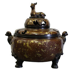 Chinese Fine Bronze Metal Deer Theme Incense Burner Ding Display cs2797
