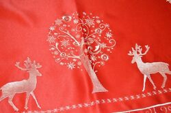 Winter Reindeer And The Tree Of Life Red German Tablecloth White Emb Christmas
