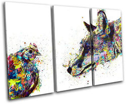 Fox Chicken Colourful Abstract Animals Treble Canvas Wall Art Picture Print