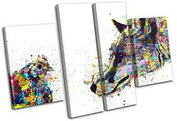 Fox Chicken Colourful Abstract Animals Multi Canvas Wall Art Picture Print
