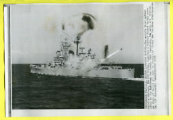 1956 Heavy Cruiser CAG-1 USS Boston Fires Terrier Missile Press Wirephoto