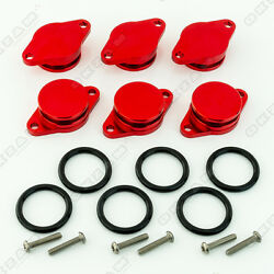 6x 32mm RED ALUMINIUM SWIRL FLAP REPLACEMENT + O-RING FOR BMW X3 X5 NEW