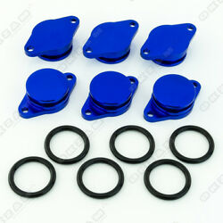 6x 32mm BLUE ALUMINIUM SWIRL FLAP REPLACEMENT + O-RING FOR BMW X3 X5 NEW