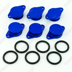 6x 32mm BLUE ALUMINIUM SWIRL FLAP REPLACEMENT + O-RING FOR BMW X6 NEW