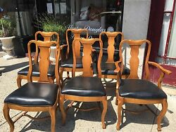 6 Vintage Davis Cabinet Company Country Queen Anne Style Dinning Room Chair S
