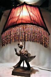 Antique Usa Post Office Mail Man Art Statue Ashtray Sculpture Textile Lamp Shade