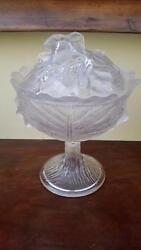 Antique Eapg Riverside Glass Cabbage Leaf And Rabbit Pedestal Compote 10.25 Tall