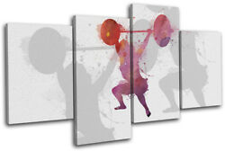 Crossfit Gym Fitness Lifting Sports Multi Canvas Wall Art Picture Print