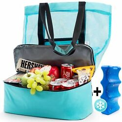 Beach Tote Bag Mesh w Insulated Cooler FREE Ice Pack. Durable and Lightweight