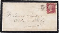 * 1859 MAR 30 UNION STREET SCOTS LOCAL CANCELLATION ABERDEEN MOURNING COVER