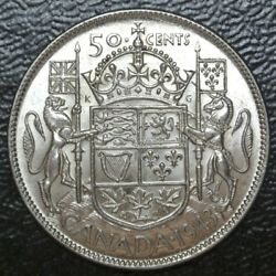 Old Canadian Coin 1943 - 50 Cents - .800 Silver -george Vi - Wwii Era-high Grade