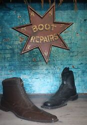 Red Star Trade Sign Boot Repair Advertising Antique Shop Curio Cobblers
