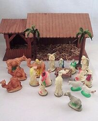 Old 23 Pc Italy Lighted Chalk Creche Nativity Holy Family Wise Men Palm Trees ++