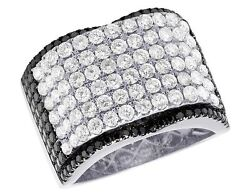 Menand039s Real 14k White Gold Genuine Diamond Black Iced Concave Ring 4 1/2 Ct 16mm