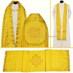 Yellow Gold Cope Stole Humeral Veil Set Vestment High Mass Lined New Damask