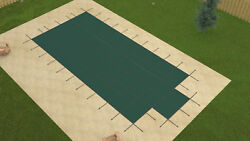 Loop Locandreg Rectangle Green Solid Swimming Pool Winter Safety Cover W/ Step And Pump