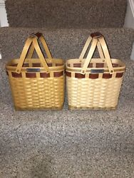 Longaberger Vip Very Rare Basket With Leather Trim Retired Consultant Selling