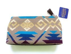 New Pendleton Southwestern Wool & Leather Small Cosmetic Toiletry Travel Bag