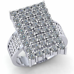 Genuine 5ct Round Cut Diamond Mens Wide Rectangle Cluster Ring Solid 10k Gold