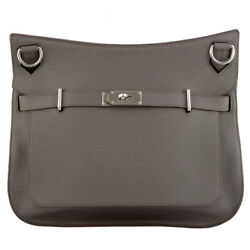 42719 auth HERMES Etain grey leather JYPSIERE 37 Messenger Cross Body Bag