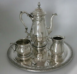 International Prelude Hand Chased Sterling Silver Pot Sugar Creamer And Tray