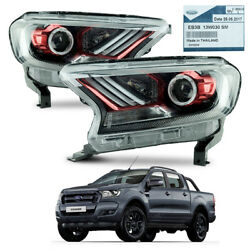Pair Head Lamp Light Projector Red Trim For Ford Ranger T6 Pickup 2015 - 2017