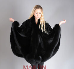 Sheared Black SAGA ROYAL Mink Cape with Fox trim - One Size