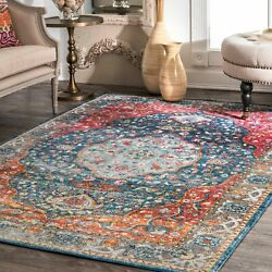 nuLOOM NEW Traditional Vintage Medallion Area Rug in Blue and Red Multi