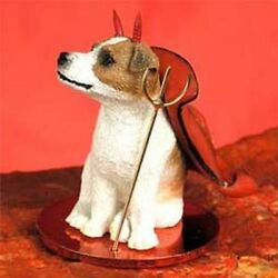 Jack Russell Terrier Brown White Smooth Cut Devil Dog Tiny One Figurine Statue