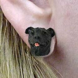 Staffordshire Bull Terrier Tiny One Dog Head Post Earrings Jewelry