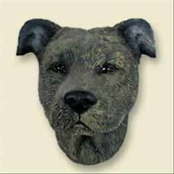 Staffordshire Bull Terrier Dog Head Painted Stone Resin MAGNET