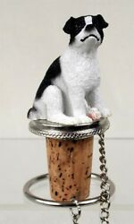 Jack Russell Blk Wht Smooth Dog Hand Painted Resin Figurine Wine Bottle Stopper