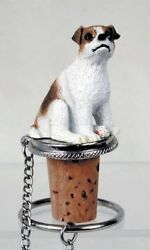 Jack Russell Brn Wht Smooth Dog Hand Painted Resin Figurine Wine Bottle Stopper