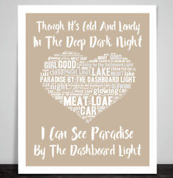 Meat Loaf Paradise By The Dashboard Light Love Heart Print Song Lyric Art Print