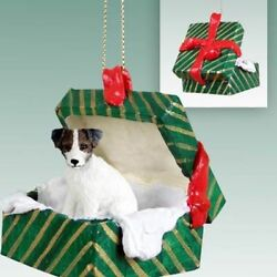 Jack Russell Terrier Brn Wht Rough Dog Green Gift Box Holiday Christmas ORNAMENT