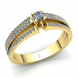 Natural 3ct Round Cut Diamond Ladies Solitaire Accent Engagement Ring 10k Gold