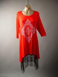 Bright Tribal Design Hippie Boho Indie Fringe Top Blouse 245 mv Tunic XL 2XL 3XL