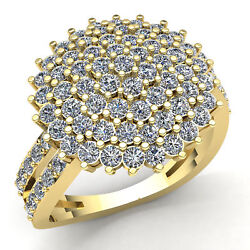 Natural 5.0ct Round Cut Diamond Ladies Cluster Fancy Engagement Ring 14k Gold
