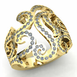Natural 5ct Round Cut Diamond Ladies Personalized Modern Fancy Ring 18k Gold