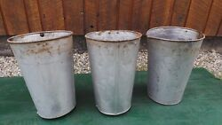 Vintage 3 Maple Syrup Old Tin Sap Silver Paint Look Buckets 13 High