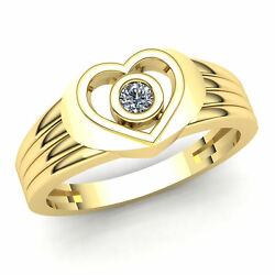 Real 0.75carat Round Cut Diamond Mens Heart Solitaire Engagement Ring 18k Gold